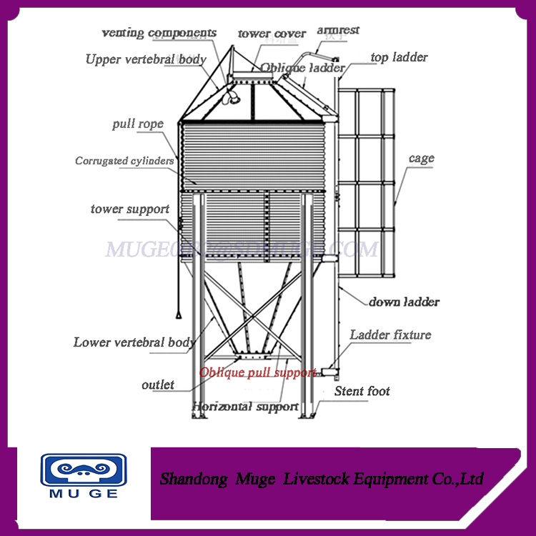 Galvanized animal feed silo