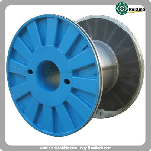Enhanced metal flange process spool metal cable puller wire drum bobbin