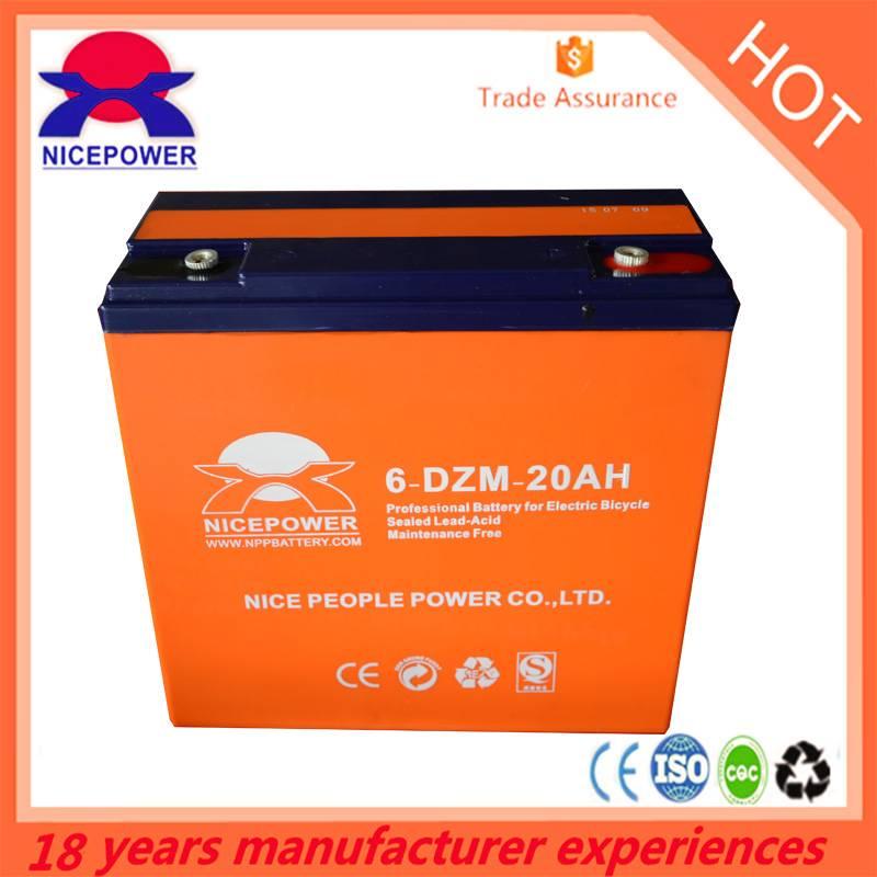 6-DZM-20 E-bike battery, electric bicycle battery 12V20AH