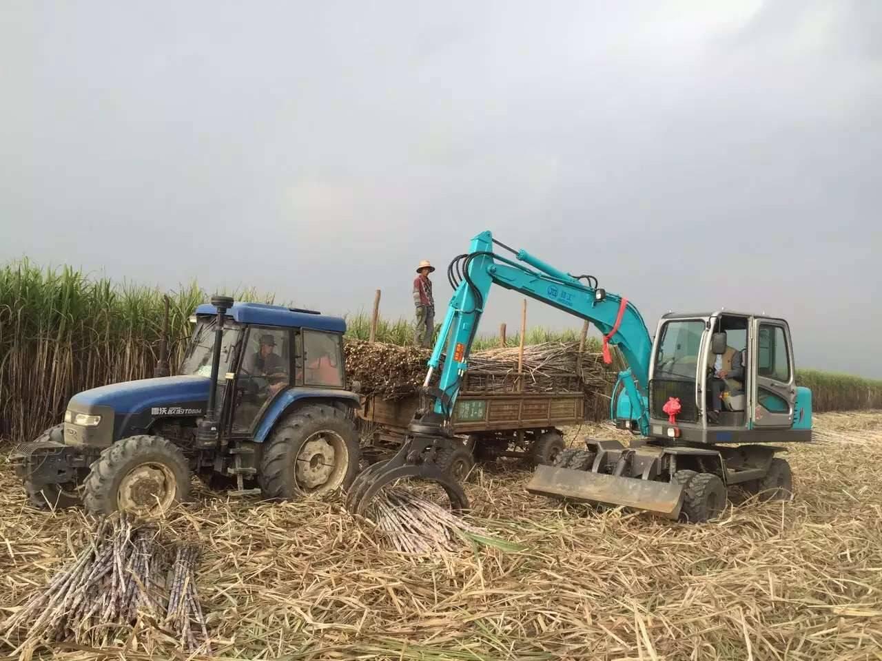 Sugarcane harvester grab loader wheel excavator