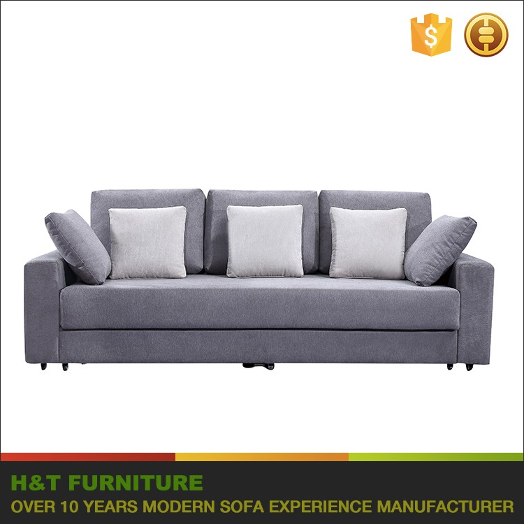 Sofa Cum Bed Modern Fabric Sofa Sleeper With Storage and With Wheel Leg F613