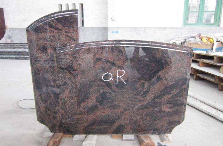 India aruba granite upright tombstone