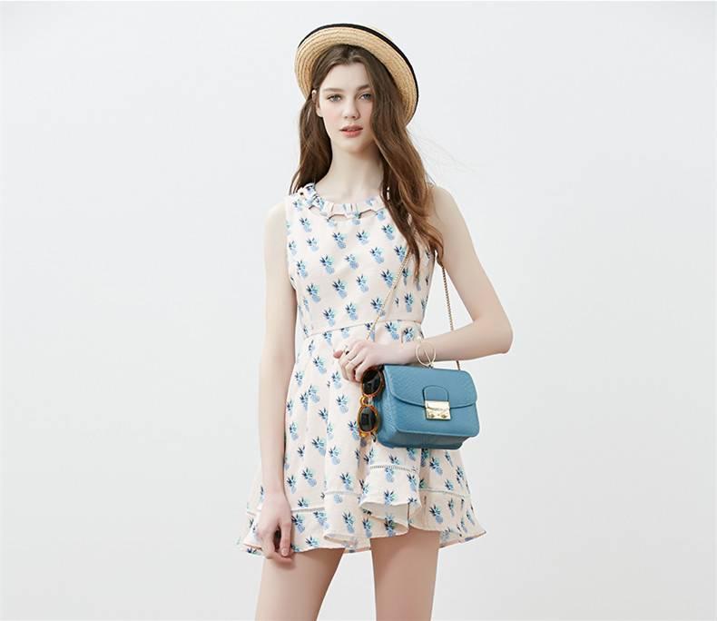 2016 Chinese formal high quality new fashion summer waistline midi O-neck short dress printed women