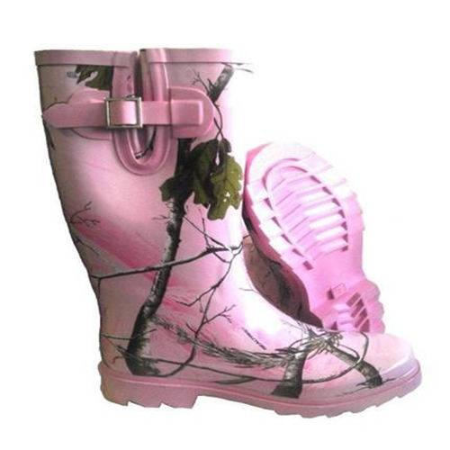 Pink rubber boots with side gusset tree camo