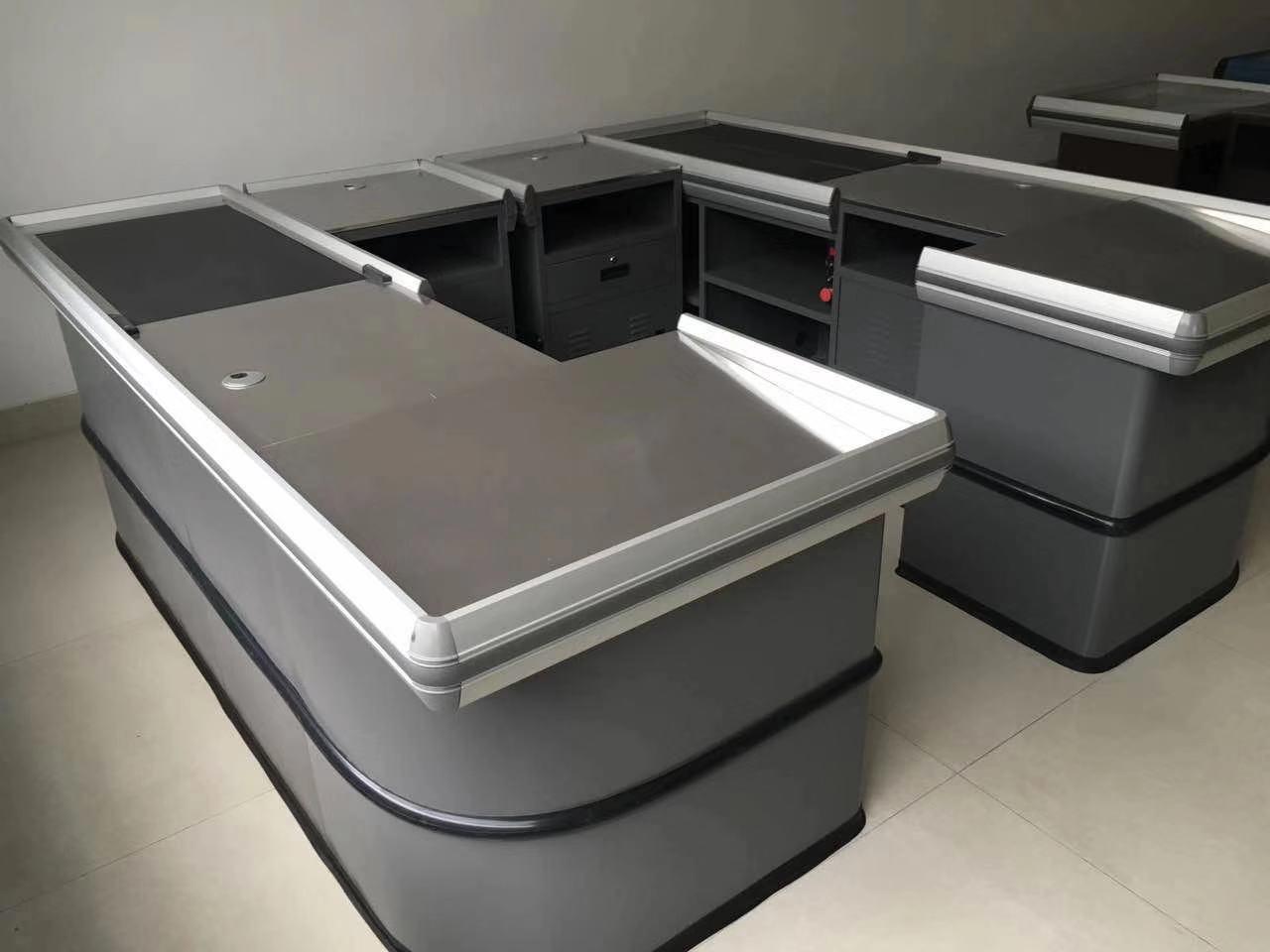 checkout counter cashier desk with conveyor belt
