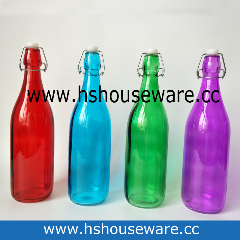 color water glass bottle