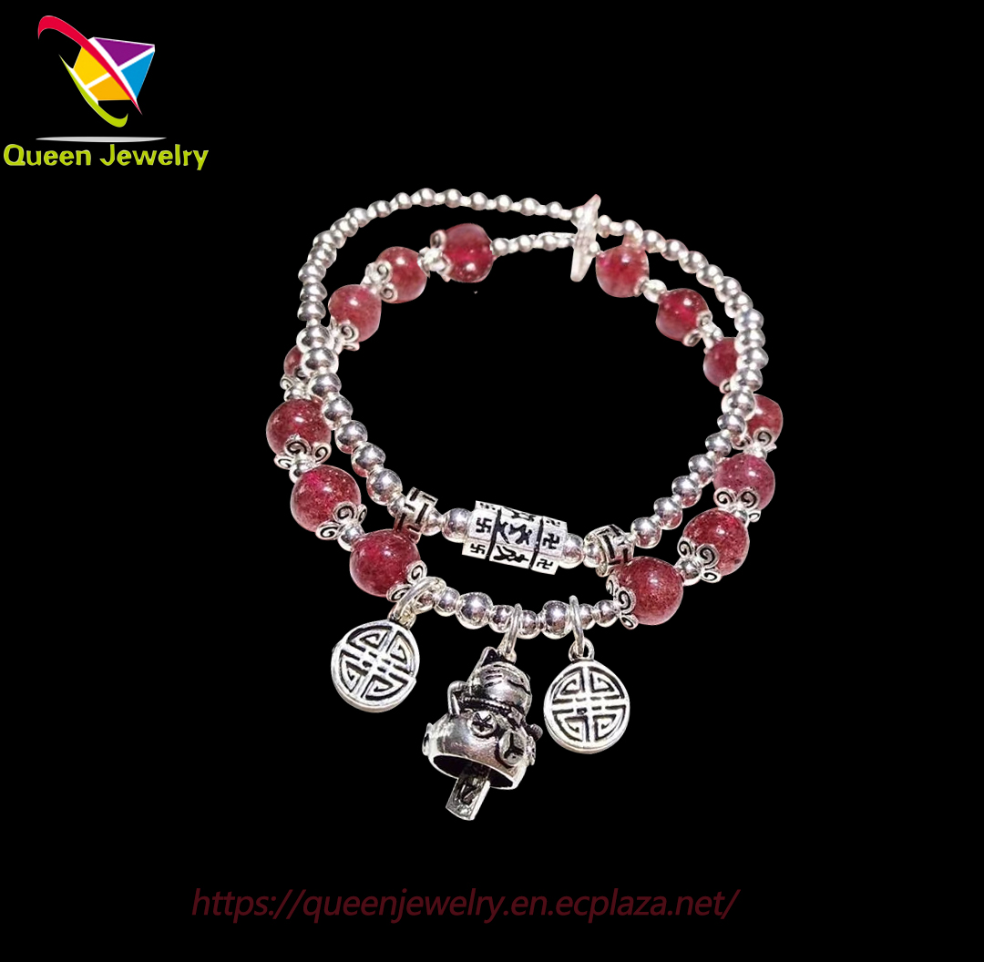 fusion quartzite jewelry strawberry quartz double bracelet gemstone bead pendant bangle for women