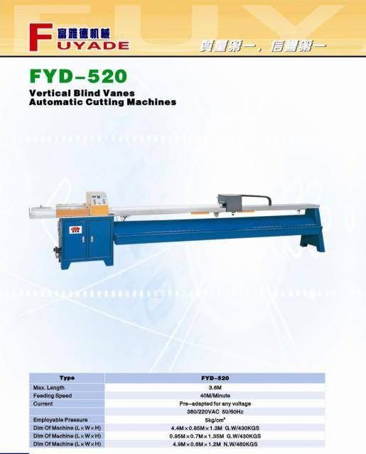 vertical blind vanes automatic cutting machines