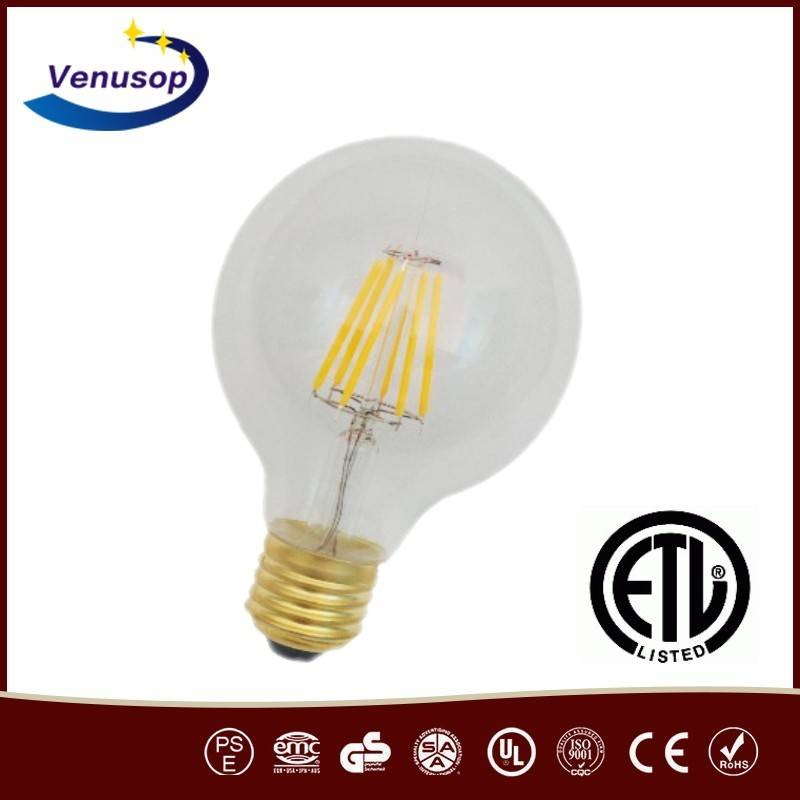 G80 Antique LED Globe bulb manufacturer, ETL LED light bulbs in China, Dimmable G80 5W LED bulbs for