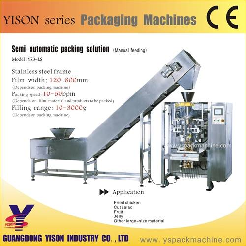 semi-automatic packing solution, manual feeding packing machine line for fried chicken, frozen chick