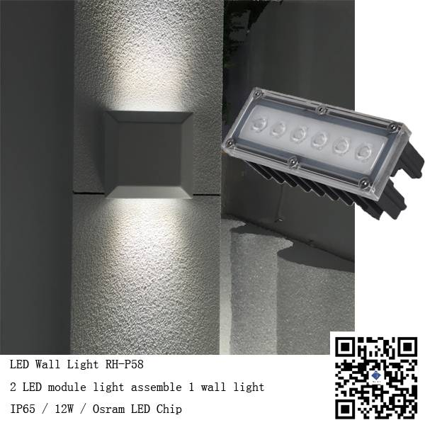 Waterproof IP65 12W Outdoor or Indoor LED Walllight