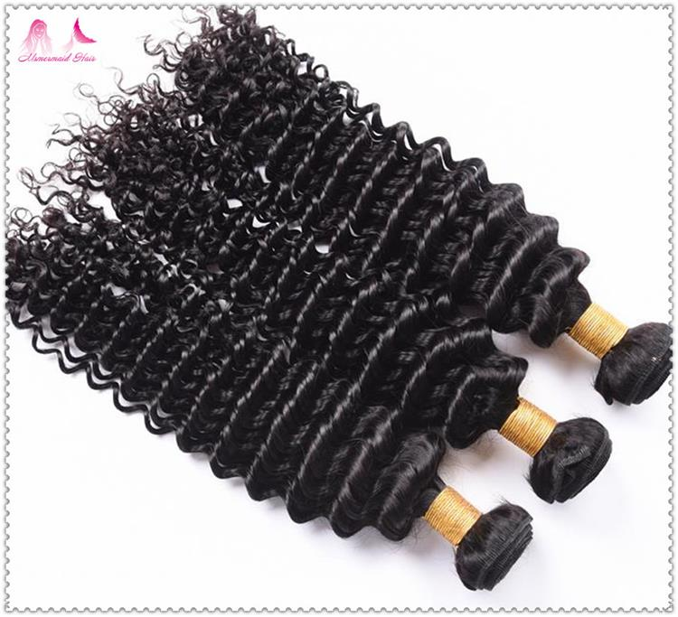 Virgin Brazilian Hair Natural Color Deep Curly Human Hair Bunldes Wholesale Price