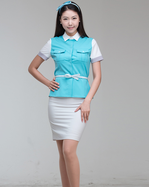 Cute Formal Style Uniform for Women Blouse Skirt Belt