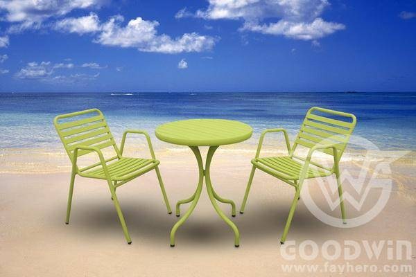 GW3342 Outdoor furniture Knock-down aluminum round dining set