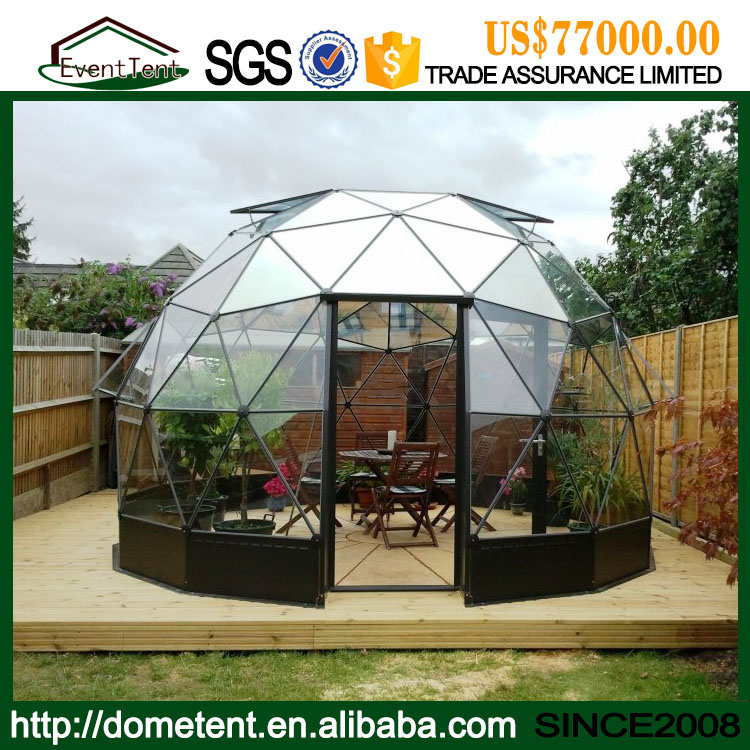 Guangzhou Supplier High Quality Aluminum Frame Green House Glass Geodesic Dome Tent For Sale