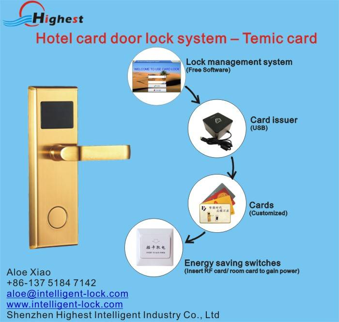 RX118E-J-S RFID electric key card door lock hotel card lock management software