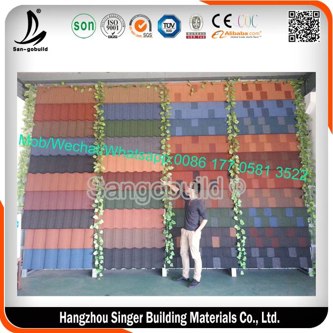 Red coloured classic type sun stone coated metal roofing tile