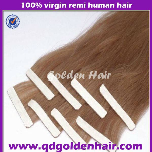 Golden Hair Silky Straight Remy Human Hair Extension Skin Weft