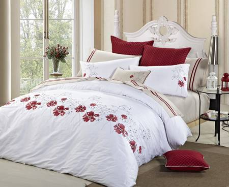 quality cotton fashion pleat embroidery quilt set