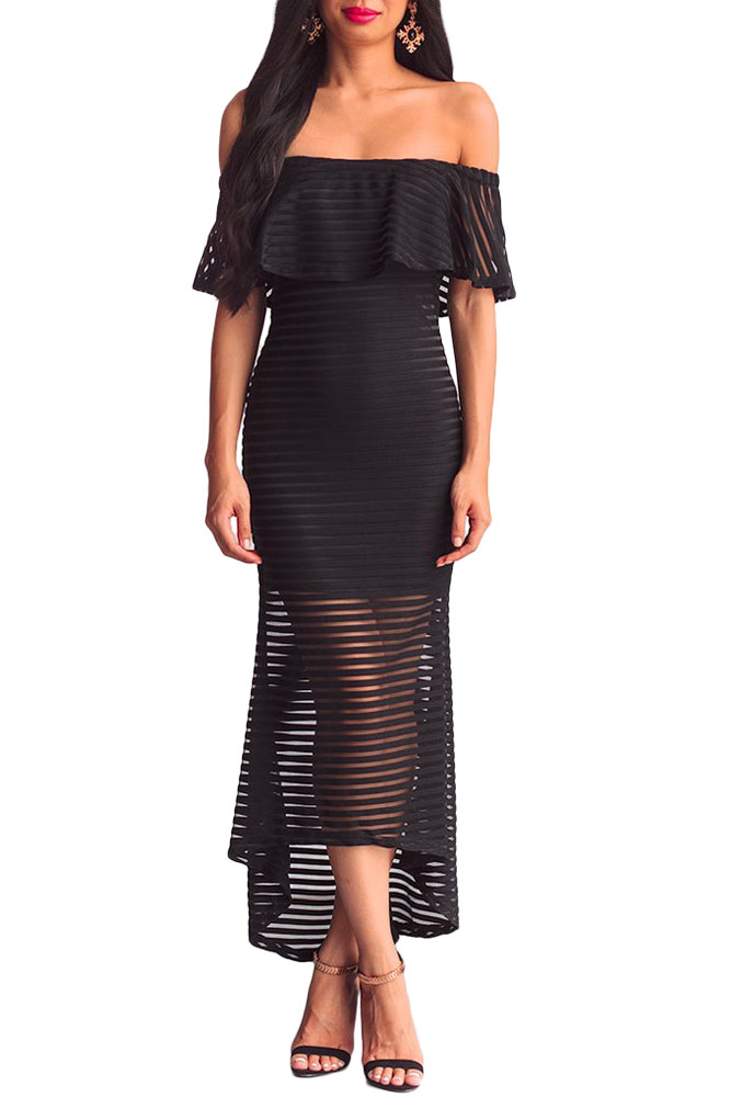 Black Sheer Mesh Striped Overlay Slinky Party Dress