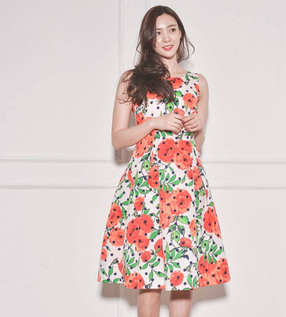 New Fashion High Style Women Flower Boutique dot dress for ladies high quality of brand fabric