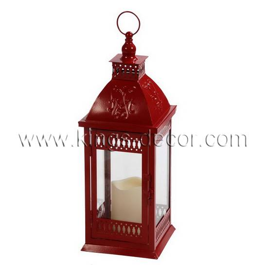 Wedding event decoration red metal led candle lantern