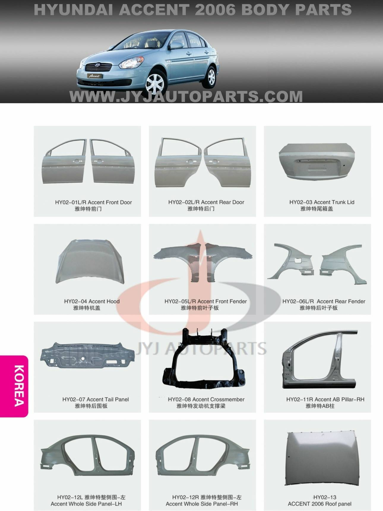 Quality metal body parts for HYUNDAI ACCNET