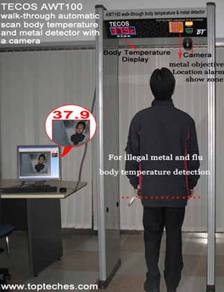 COVID-19 virus Body Thermal Scanner & Metal Detector Gate with camera, Body Temperature Thermometer