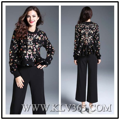 New Fashion Designer Top Women Winter Wool Cotton Floral Printed Ruffled Blouse Shirt