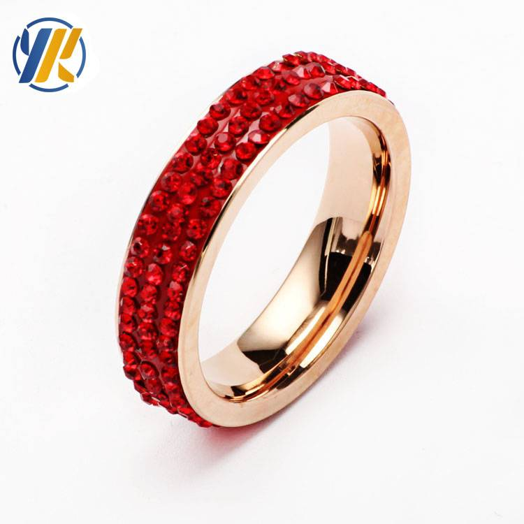 Unisex Stainless Steel crystal Gold ring Men/Women's Wedding Ring