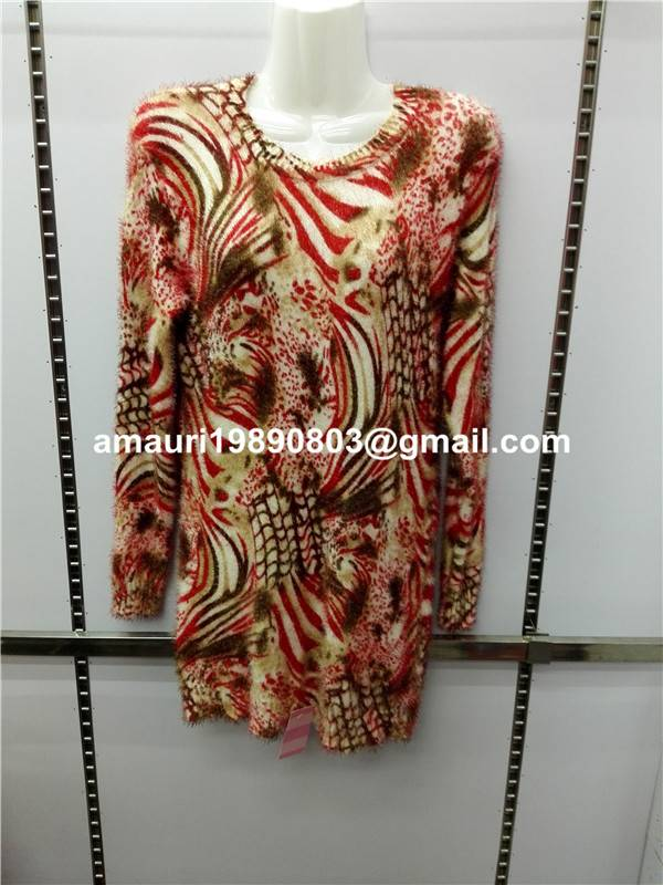 knitted printing mohair sweater pullover women