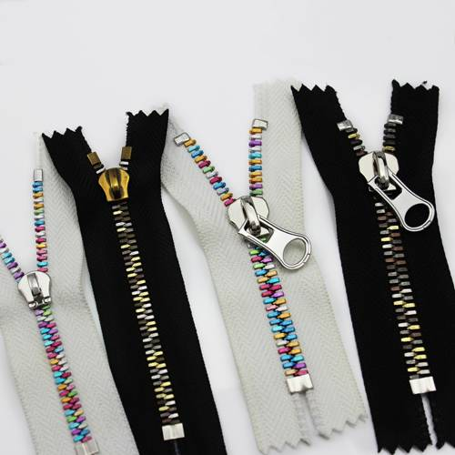high quanlity metal zipper - combined with different color teeth