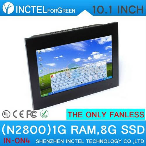10.1 inch fanless embedded all in one touchscreen computer with Atom N2800 1.86Ghz 1G RAM 8G SSD