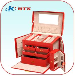 Luxury Wood Jewelry Box with PU and Velvet