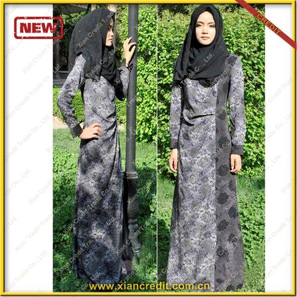 2014 Newest muslim women abaya made of Two face cotton tencel prints  P002-1