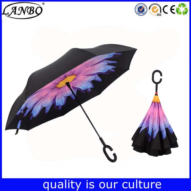 Customized Logo printed promotional umbrella custom reverse inverted umbrella