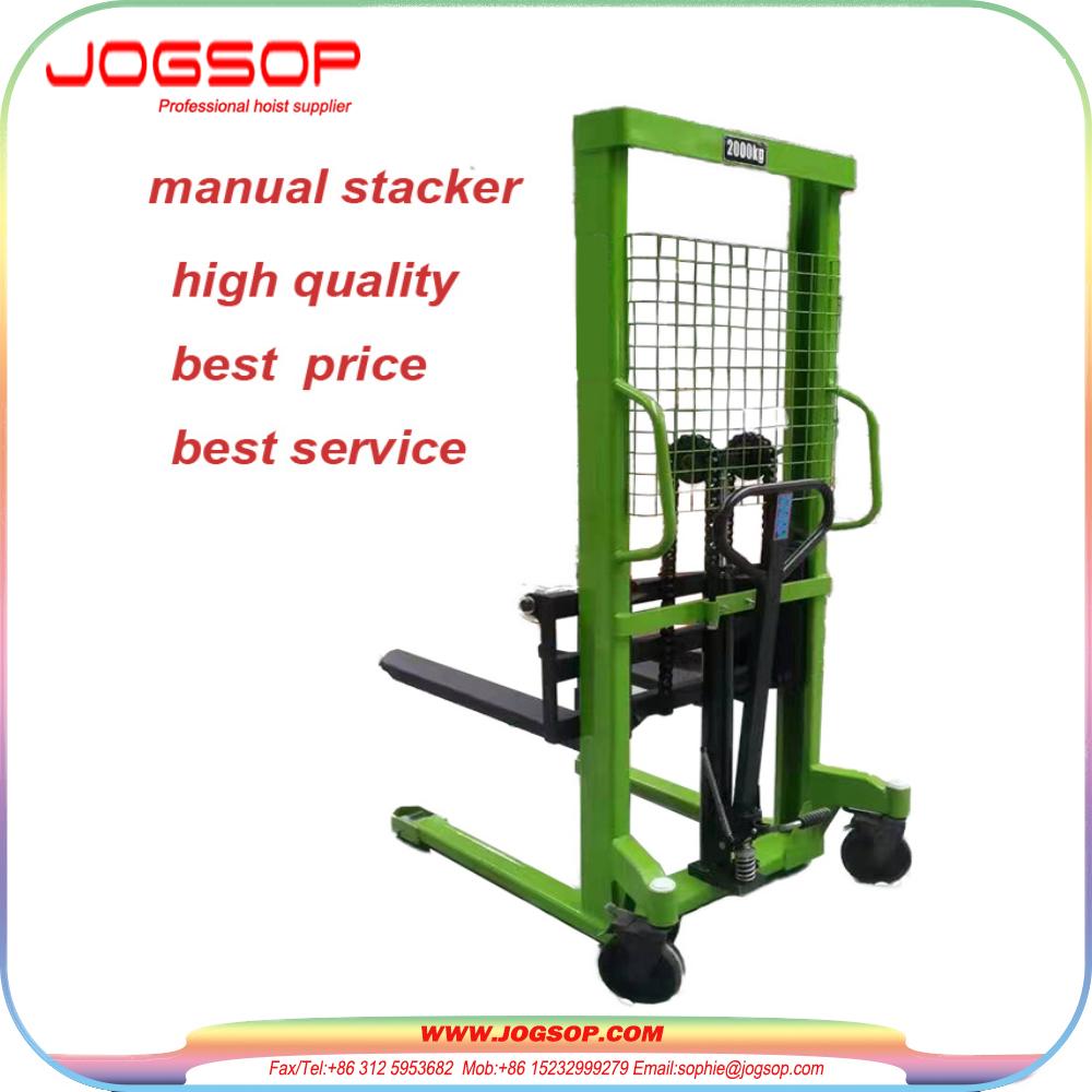 500-2000kg Load Capacity Manual Pallet Forklift Jack Stacker