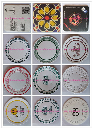 round or square promotional hotel absorbent paper coaster with custom logo printed
