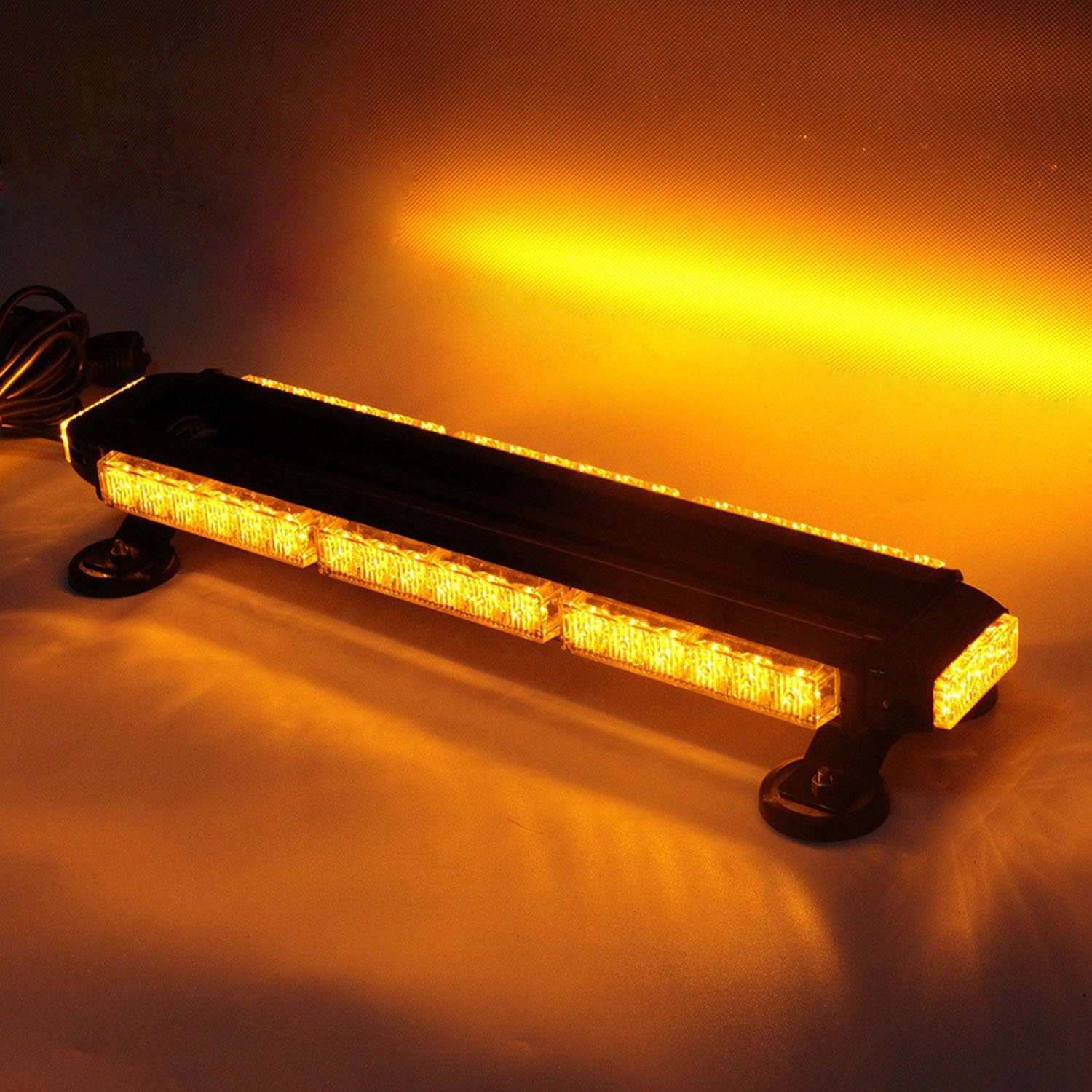 Led Emergency Warning Traffic Advisor Vehicle Strobe Light Bar with Leds on Four Sides-Amber