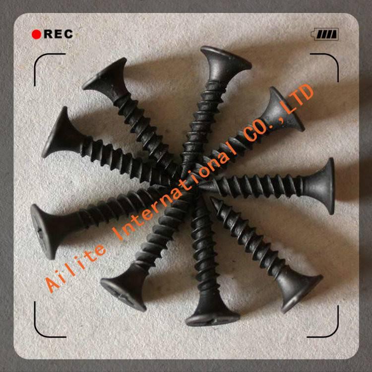 Black phosphating bugle head C1022 steel fine thread drywall Screw 3.5*35