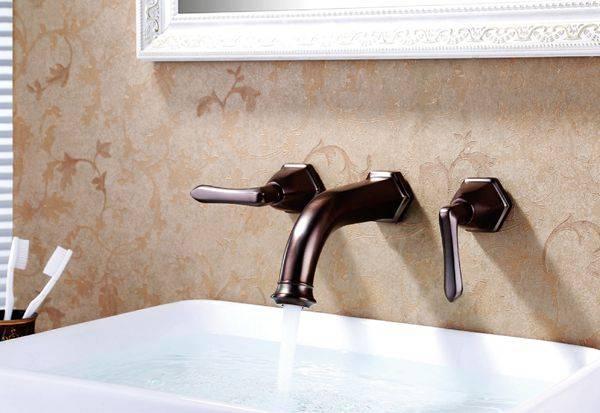 Modern brass dual handle wall mounted bathroom basin faucet