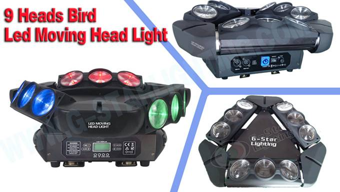 9 heads Birds Led Moving Head Lights/Three wings of LED moving head light