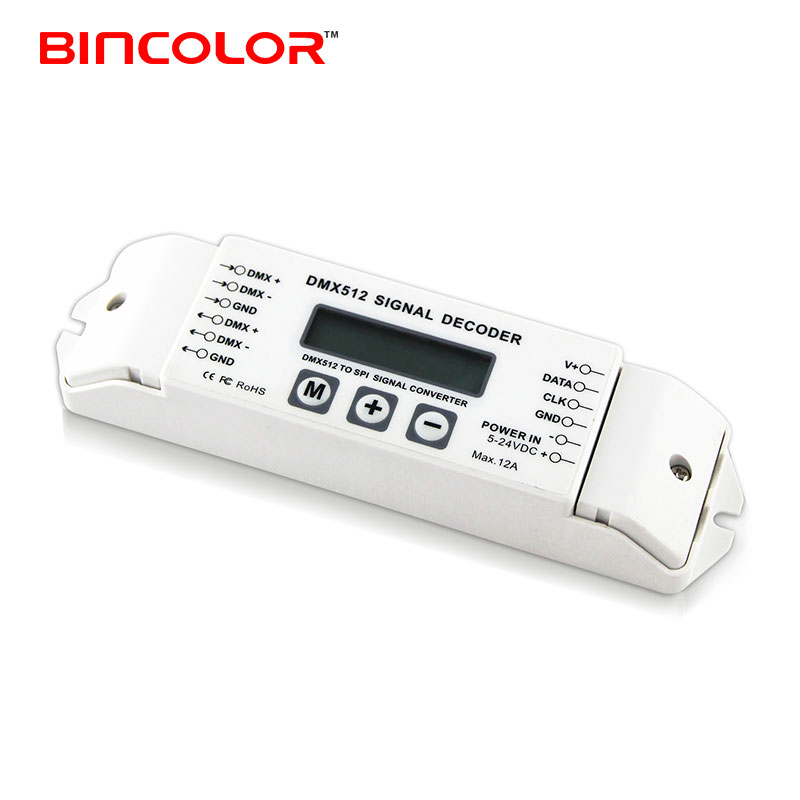 BC-820 DMX512 led signal decoder, DMX to SPI led decoder for WS2812 UCS2904 SK6812, TM1814 ICs