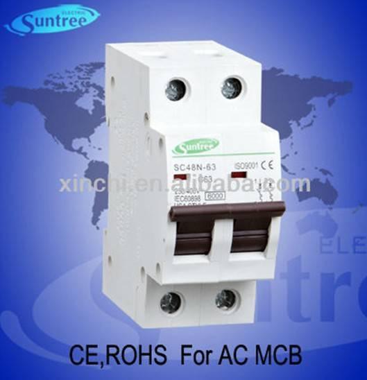 Improved C45 type MCB with 1P,2P,3P,4P 1A to 63A has passed CE,ROHS certificate
