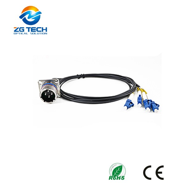 Military Tactical 2 4 8 cores waterproof patch cord with receptacle and plug multiway connector