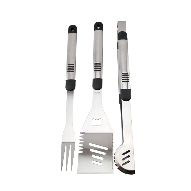 3 pieces stainless steel BBQ grill tools set