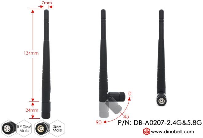 5dBi 2.4G 5G 5.8GHz WiFi External Antenna DB-A0207-2.4G&5.8G