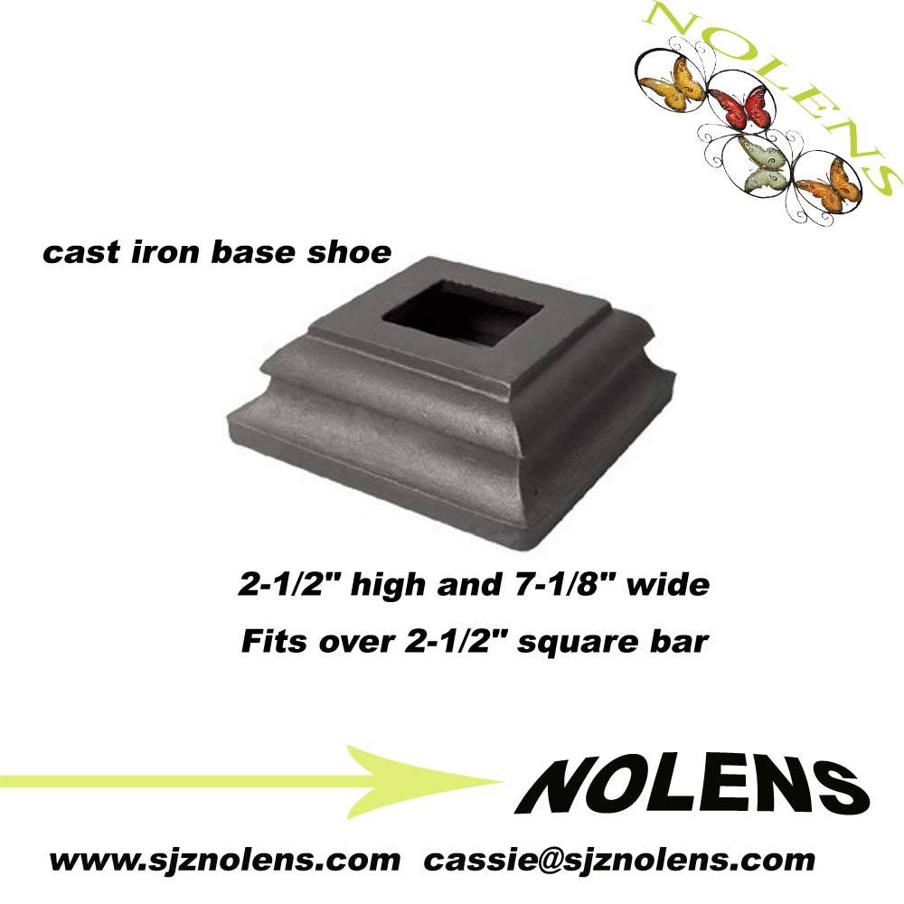 "Ornamental iron collar and bushings/ Cast Iron Base Shoe for 2-1/2"" Square Bar"