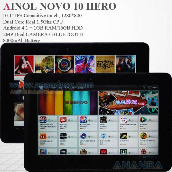AINOL NOVO10 HERO 10.1 IPS Display 1.5GHz dual core Android 4.1 Tablet PC