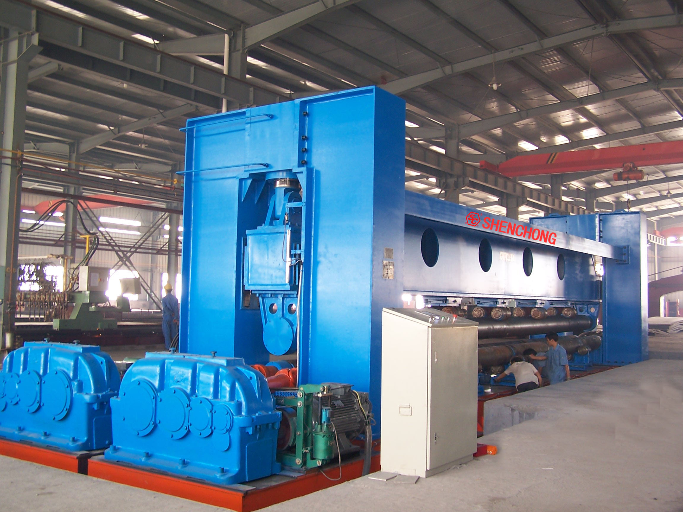 Three-roller symmetry rolling machine 20mmx12000mm for shipbuilding